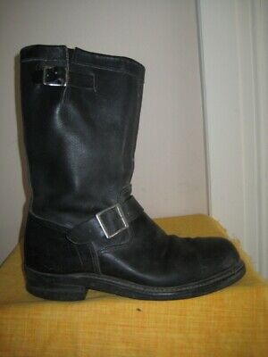 Mens Black Leather Engineer Boots 8.5E SteelToe ArmorTred Soles Iconic Biker