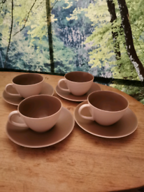 4 China Poole Pottery cups and saucers