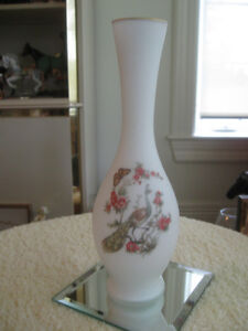 "SHAPELY OLD VINTAGE SATIN GLASS VASE with ""PEACOCK DESIGN"""