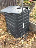 Square composter and turning fork