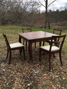 Antique Oak Table, 4 upholstered chairs