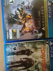 Ps4 Tom Clancy's The Division & Destiny. $30.00 for both