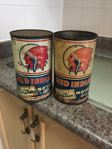VINTAGE OIL CANS,WHITE ROSE,RED INDIAN,IRVING  & MORE