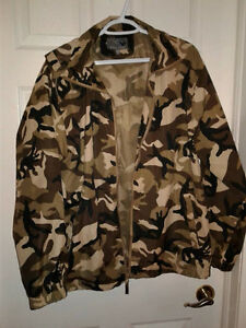 Raw Edge Men's Large Camouflage Spring Jacket with Hood