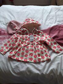 Next baby girls coat and hat