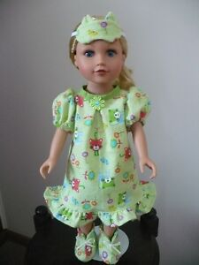 "Nightgown, Slippers and Sleep Mask for 18"" Dolls"