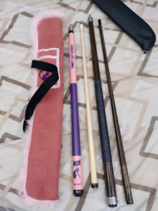 1 adult pool cue and 1 for a young lady. BRAND NEW