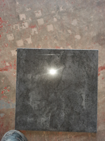 Polished dark grey floor tiles 300mm x 300mm