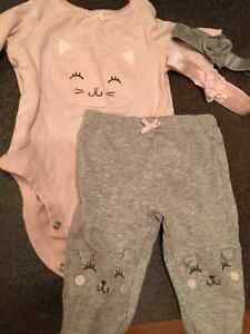 Carters girl 3 month outfit and 2 headbands