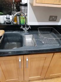 Black Granite 1.5 Bowl Sink (carron phoenix)