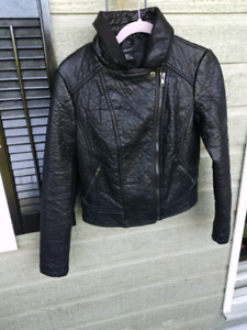 FAUX BLACK LEATHER MOTO STYLE JACKET