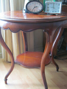 LEATHER INSERT ANTIQUE TABLE