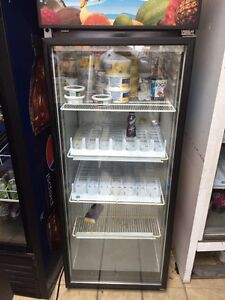 Commercial fridges and store shelves
