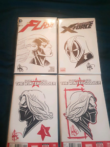 Signed and remarked comics