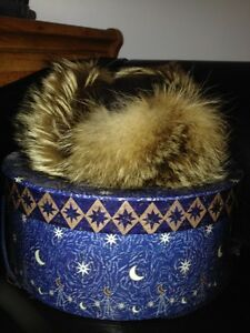 Men's hat...coyote fur/leather