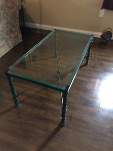 Glass Coffee Table with Solid Steel Frame