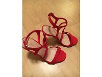 NEW LOOK - Red/Orange Strapy Ladies Stiletto Sandals (Size 4)