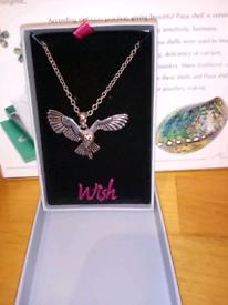 Wish jewellery flying barn owl necklace