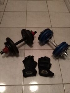 2 DUMBBELLS WITH WORKOUT GLOVES - $70
