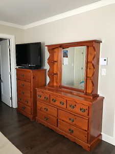 Chest and Dresser with Mirror and Headboard for Sale