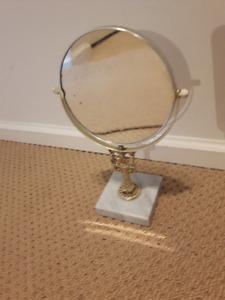 Mirror Vintage Brass and Marble Tilting Vanity