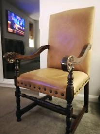 Vintage style Oak-Framed Leather Armchair