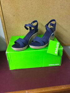 New Crocs Women's Leigh II Ankle Strap Wedge Sandal