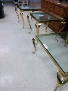 Heavy Brass 3 piece Coffee Table and 2 End Tables -thick glass