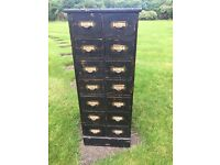 Rare wooden filing drawer with 14 drawers in total