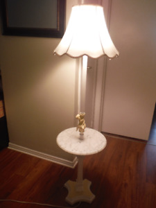 Ornate pedestal antique lamp with solid marble circular shelf