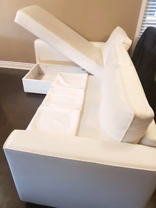 Ikea L-SHAPE SOFT White convertible Sofa-Bed