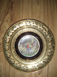 Collectible Brass and Bone China Display Plate for sale