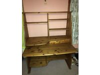 Attractive Pine Office Desk with drawer numerous shelves.