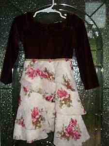 Burgundy Velvet Girly Dress Size 2