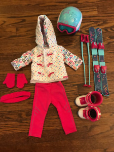 American Girl Doll Ski Outfit and Accessories