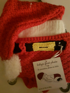Santa hat & diaper cover for baby's xmas pic
