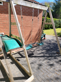 Wooden Double swing and Slide