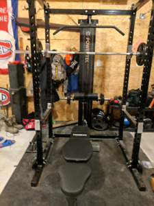 Squat rack , bench, lat pull down, weights