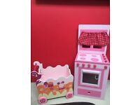 Girls Toy Pink Wooden Kitchen & Push Along Storage Box