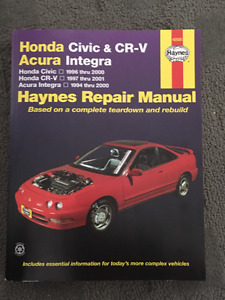Haynes Repair Manual Honda Civic, CR-V, Acura Integra