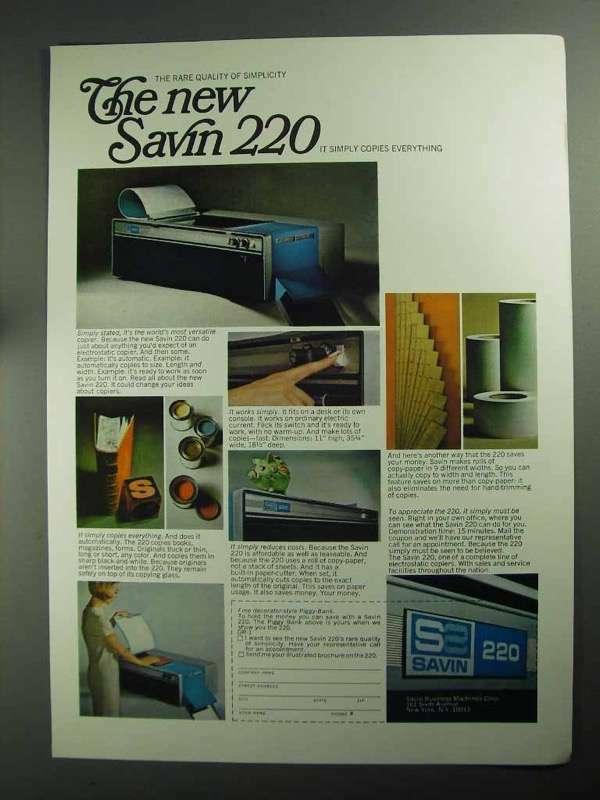 1968 Savin 220 Electrostatic Copier Ad - Simplicity