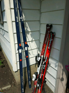 Kids downhill skis, boots, Adult telemark skis