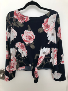 Floral Front Knot Wide Sleeve Shirt