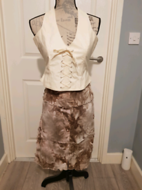 Brown and beige skirt suit