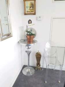 Polished Aluminum Bar Height Side Display Table