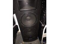 Mackie S225 dual 15 two way speakers pair