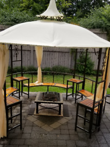 Round Metal Gazebo with built in seating and tables-$750 or best