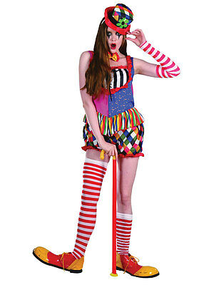 Womens Clown Outfit (Cute Circus Clown Retro Womens Ladies Fancy Dress Costume Shorts Rainbow)