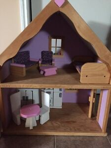 Beautiful Handmade Wooden Dollhouse with furniture