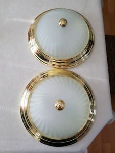 2 Frosted Glass Dome Ceiling Lights